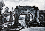 Ponte Rotto. Ruins  (Paper, ink, white; 20х30, 2019)