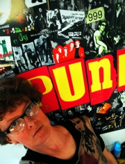 Selfie with punk poster, 2014